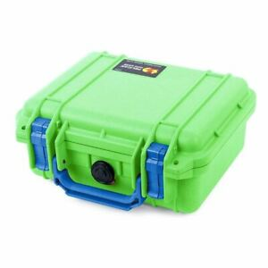 New Pelican 1200 Lime Green & Blue Case with Foam.