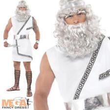 Mens Zeus Ancient Greek God Toga Fancy Dress Costume Outfit & Wig
