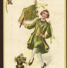 ST. PATRICK'S DAY LAD DANCING A JIG WITH IRISH FLAG,SHILLELAGH,SHAMROCK,POSTCARD