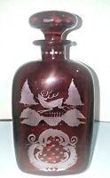Antique Vtg Czech Bohemian Art Glass STAG HUNT Ruby Collectible Decanter Liquor