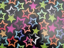 2 SHEETS STARS WRAPPING PAPER, BLACK BACKGROUND - BIRTHDAY, GIFT, PRESENT (064)