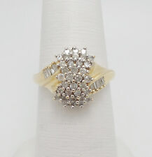 Zales Vintage 3/4CT Diamond Cluster Anniversary Band Ring 14K Yellow Gold