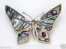 of Pearl Shell Wing signed Ed Mexican Silver Butterfly Pin Brooch with Mother