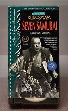 Seven Samurai Vhs, 1992, 2-Tape Set Akira Kurosawa Full Lenghth Japanese Classic