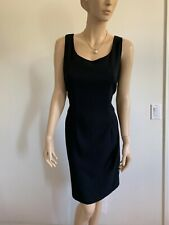 VINTAGE HILLARD & HANSON BLACK RED LINING PRINCESS SLEEVELESS SHIFT DRESS SIZE S