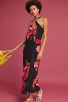 Anthropologie Maxi Dress Sundress Floral Halter Summer Evening Beach Party, LP