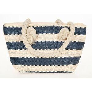 Straw Weave Bag Blue and Cream Small Handbag Holiday Beach Picnic Bag