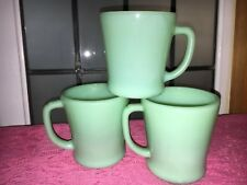 Vintage SET 3 FIRE KING JADE-ITE JADEITE GREEN  D HANDLE COFFEE MUGS Milk Glass