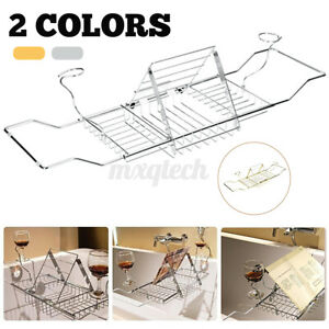 Stainless Steel Bathtub Wine Rack Shower Shelf Tray Extendable Caddy