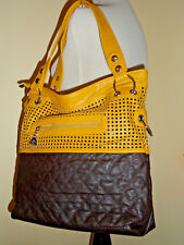 Women's Yellow Brown Tote Shopper Faux Leather Crossbody Strap included NWOT