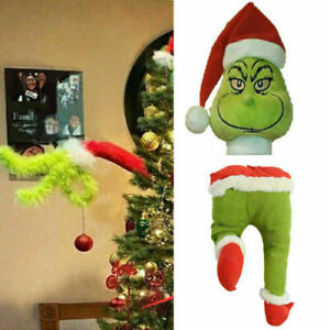 Christmas Grinch Decorations Furry Green Grinch Arm Ornament Holder Tree Sets