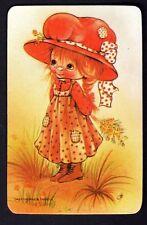Vintage Swap Card - Pretty Girl in Big Red Hat (BLANK BACK)