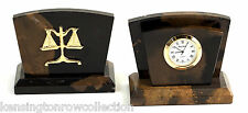 DESK ACCESSORIES -  SCALES OF JUSTICE CLOCK AND LETTER RACK - LEGAL PROFESSION