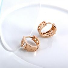 18K Rose Gold Filled CZ Hoop Earrings (E-220)