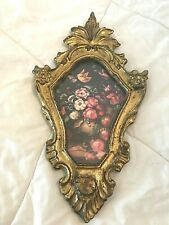 """Floral Wall Plaque Dark Gold Italy Florentine by Action Vintage Ornate 7""""x12.5"""""""