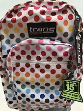 "Trans by Jansport 17"" Supermax Multicolor Polkadot Backpack 5 Pockets!"