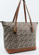 TOMMY HILFIGER Monogram Fabric Shoulder Tote Bag, Handbag, Khaki/Tan
