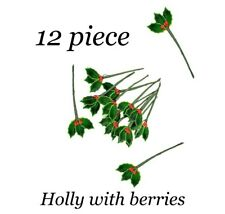 12 Lacquered HOLLY LEAVES w/ BERRIES ARTIFICIAL 7/8