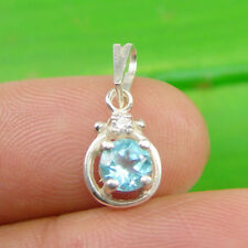Round 5mm Blue Topaz and CZ Gemstone Pendant Genuine 925 Sterling Silver - P123