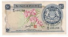 Singapore $1 dollar, 1st series Orchid, GKS signed red seal (VF)