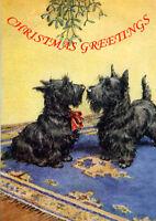 SCOTTISH TERRIER MISTLETOE SCOTTIE DOG SINGLE DOG PRINT GREETING CHRISTMAS CARD