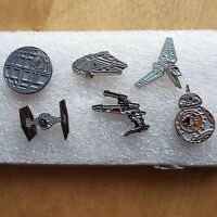 STAR WARS SHIPS SET OF 4 PIN BADGES DEATHSTAR XWING TYE FIGHTER MILLENIUM FALCON