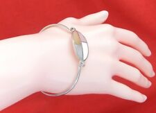 925 Sterling Silver Front Clasp Oval Pale Yellow Mother of Pearl Bangle