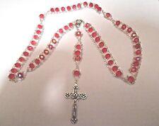 Fine Quaility Italian 7mm Red Aurora Borealis Ladder Rosary