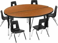 "47.5""Circle Wave Activity Table Set with 12""Student Stack Chairs, Oak New"