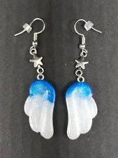Gradient Blue And White Glitter Angel Wings With Stars Earrings - Kawaii