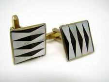 Vintage Cufflinks Jewelry: Mother of Pearl Black Striped Design Beautiful