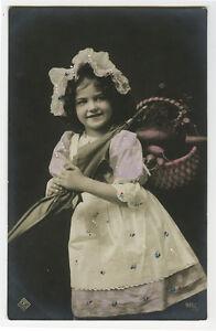 c 1910 European Children Child CUTE LITTLE GIRL photo postcard