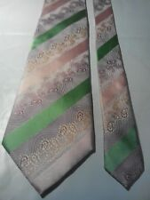 Hardy Amies Men's Vintage Silk Tie in an Embossed Mauve Pink and Green Pattern