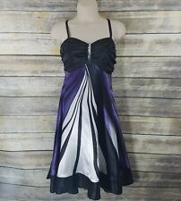 Venus Size 8 Cocktail Party Shift Dress Black Purple Sequin Satin Empire Waist