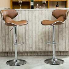 Set Of 2 Bar Stools Adjustable Pu Leather Pub Chair Counter Dining Swivel Coffee