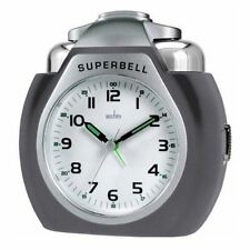 Acctim Thunderbell Grey Case Quartz Bell Alarm Clock With Light And Snooze 13977
