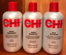 CHI TRIO,infra shampoo,silk infusion and silk treatment 12oz ea Free Shipping