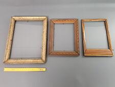 Set di 3 antichi cornici in legno vintage con 2 smaltato francese antico frames