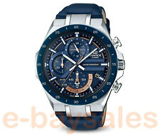RARE MENS CASIO EDIFACE SOLAR POWER BLUE DIAL LEATHER STRAP CHRONOGRAPH WATCH