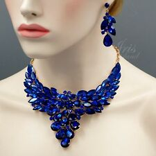 ROSE GOLD Plated Sapphire Blue Crystal Necklace Earrings Jewelry Set 09145 New