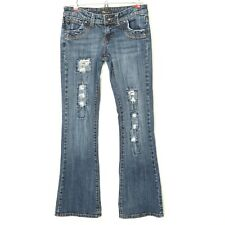 BU From Malibu Womens Jeans Bootcut Size 1 2 X 31 Destroyed Distressed Stretch