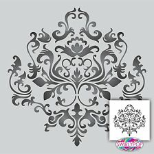 Damask Wall Stencil Choose Your Size Faux Mural Pattern