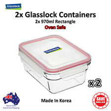 2x Glasslock Oven Safe Tempered 970ml Rectangle Food Container Microwave Safe