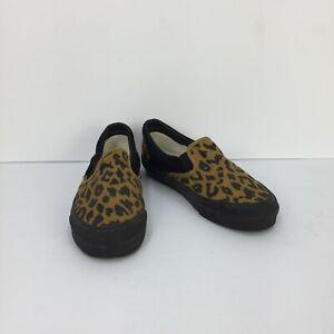 Vans Vault Custom Leopard Print Black & Yellow Low Slip On Men Sneakers SZ 12
