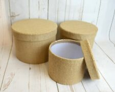 Round Natural Hessian Oasis Hat Box set of 3 lined Flowers Gifts Living Vase