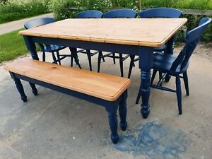 Solid pine table, chairs and bench