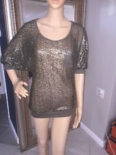 Imaginary  Voyage  Top Army Green Sequins All Over Size Small