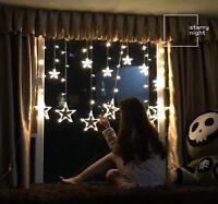 Star Shaped Led Lights String Curtain Window Bedroom Xmas Fairy Lamp Home Decor