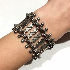 Taxco Mexican Vintage Modernist HEAVY 87g STERLING SILVER DNA BEAD WIDE BRACELET