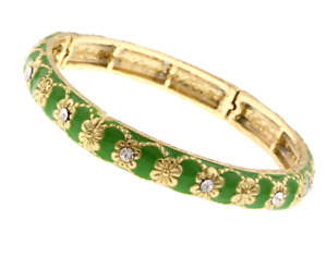 1928 Jewelry Gold-Tone Crystal with Green Enamel Stretch Bracelet